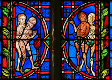 Adam and Eve - Stained Glass in Tours Cathedral Royalty Free Stock Photography