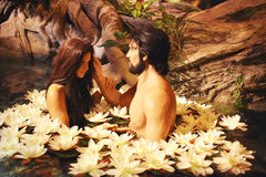 Adam & Eve. Statues of Adam and Eve in the Garden of Eden at the Creation Museum in Florence, Kentucky Stock Photos