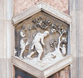 Adam and Eve working after the Fall, Florence Cathedral. Adam and Eve working after the Fall by Andrea Pisano, 1334-36., Campanile of Cattedrale di Santa Maria stock photo