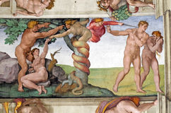 Adam fall. On the Sistine Chapel ceiling, by Michelangelo Royalty Free Stock Images