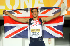 Adam Gemili of Great Britain. Celebrate gold on 100 meters of the 20th World Junior Athletics Championships at the Olympic Stadium on July 11, 2012 in Barcelona Stock Photo