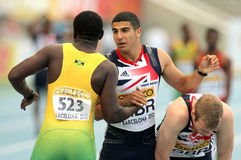 Adam Gemili greets Jazeel Murphy Stock Photo