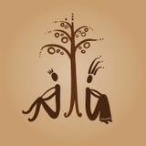 Adam i wigilii obsiadanie pod drzewem Obrazy Stock