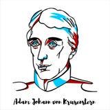Adam Johann von Krusenstern Portrait stock illustratie