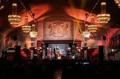 Adam Kawonczyk Quartet, der Live-Musik am €™ Krakaus Jazz All Soulsâ Tagesfestival im Wieliczka-Salzbergwerk spielt Stockbild
