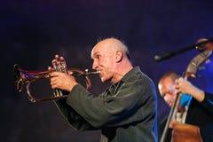 Adam Kawonczyk Quartet, der Live-Musik am €™ Krakaus Jazz All Soulsâ Tagesfestival im Wieliczka-Salzbergwerk spielt Lizenzfreies Stockbild