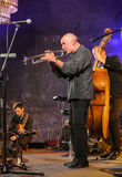 Adam Kawonczyk Quartet, der Live-Musik am €™ Krakaus Jazz All Soulsâ Tagesfestival im Wieliczka-Salzbergwerk spielt Lizenzfreies Stockfoto
