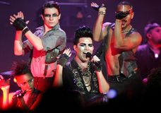 Adam Lambert performs in concert. On his Glam Nation Tour at the Seminole Hard Rock Hotel and Casino in Hollywood, Florida on September 19, 2010 stock photography