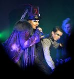 Adam Lambert performs in concert. On his Glam Nation Tour at the Seminole Hard Rock Hotel and Casino in Hollywood, Florida on September 19, 2010 stock photos