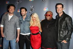 Adam Levine, Blake Shelton, Carson Daly, Cee LoGreen, Christina Aguilera Royalty Free Stock Photos