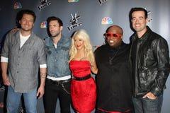 Adam Levine, Blake Shelton, Carson Daly, Cee Lo, Cee Lo Green, Cee-Lo, vert de Cee-Lo, Christina Aguilera photos libres de droits