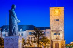 Adam Mickiewicz Monument and Imperial Castle in Poznan, Poland.  royalty free stock photos