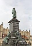 Adam Mickiewicz-monument in Krakau, Polen Stock Afbeeldingen