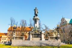 Adam Mickiewicz-Monument an Straße Krakowskie Przedmiescie in Warschau Lizenzfreie Stockbilder