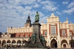 Adam Mickiewicz Monument and Sukiennice in Krakow Royalty Free Stock Photos
