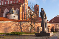 Adam Mickiewicz-monument in Vilnius Stock Afbeelding