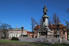 Adam Mickiewicz Monument in Warschau Lizenzfreies Stockbild