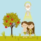 Adam och helgdagsafton vektor illustrationer