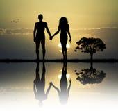 Adam och helgdagsafton i edenen Arkivfoton