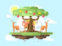Adam och helgdagsafton nära ett träd royaltyfri illustrationer