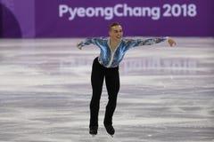Adam Rippon de los Estados Unidos se realiza en el patinaje libre de Team Event Men Single Skating en las 2018 olimpiadas de invi Imagenes de archivo