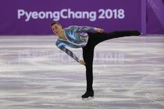 Adam Rippon de los Estados Unidos se realiza en el patinaje libre de Team Event Men Single Skating en las 2018 olimpiadas de invi Imágenes de archivo libres de regalías