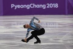 Adam Rippon des Etats-Unis exécute dans le patinage gratuit de Team Event Men Single Skating aux 2018 Jeux Olympiques d'hiver Photographie stock libre de droits