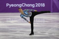 Adam Rippon of the United States performs in the Team Event Men Single Skating Free Skating at the 2018 Winter Olympics. GANGNEUNG, SOUTH KOREA - FEBRUARY 12 Royalty Free Stock Images