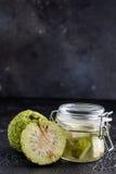 Adam-` s Apfel auf einem schwarzen Hintergrund Tinktur von Adam-` s Apfel in einem Glasgefäß Lizenzfreie Stockfotografie