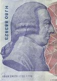 Adam Smith portrait on reverse of 20 pound sterling banknote. British currency royalty free stock photo