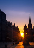 Adam Smith's Sunrise on the Royal Mile, Edinburgh Stock Images