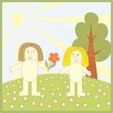 Adam tombe amoureux d'Ève illustration de vecteur