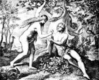 Adam u. Eve Eat Forbidden Fruit Lizenzfreie Stockfotografie