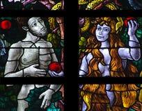 Adam und Eve (Buntglas) Lizenzfreies Stockfoto