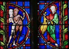 Adam und Eve - Buntglas in der Ausflug-Kathedrale Stockbild