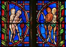 Adam und Eve - Buntglas in der Ausflug-Kathedrale Lizenzfreie Stockfotografie