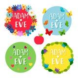 Adam- und Eve-Fahnen mit Blumen, Blätter, Schmetterlinge, Herzvektorsatz lizenzfreie abbildung