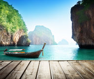 Adaman sea and wooden boat Stock Images