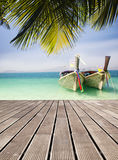 Adaman sea and wooden boat in Thailand Royalty Free Stock Photos