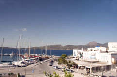 Adamas Milos Greek Island harbor view Royalty Free Stock Photo