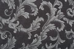 Adamaszek, czarny tkaniny tekstury tło fotografia stock