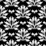 Adamaszek kwitnie bezszwowego wzór wszystkie tła podkręć barok ilustracja wektor oddzielnie Kwiecisty wallp Zdjęcie Stock