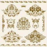 adamaszek ornamentuje setu wektor Obraz Royalty Free
