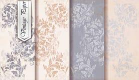 Adamaszkowego wzoru ustalony wektor Barokowy ornamentu wystrój ornamentu geometryczne tła księgi stary rocznik Modne kolor tkanin royalty ilustracja