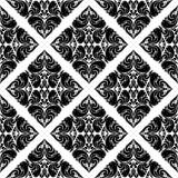 Adamaszkowy bezszwowy czerń wzór na bielu Obraz Stock