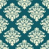 Adamaszkowy bezszwowy wzór z zielenią i beżem Obrazy Royalty Free