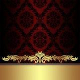 Adamaszkowy czerwony ornamentacyjny tło z złotą królewską granicą Zdjęcie Royalty Free
