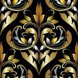 Adamaszkowy ozdobny wektorowy bezszwowy wzór Piękni roczników ornamen ilustracji