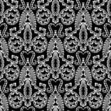 Adamaszkowy stylowy kwiecisty ornamentacyjny czarny i biały grecki wektorowy bezszwowy wzór Elegancja deseniujący monochromatyczn royalty ilustracja