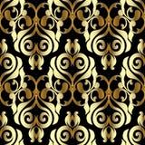 Adamaszkowy wektorowy bezszwowy wzór Czarny złocisty kwiecisty tło półdupki Obraz Royalty Free